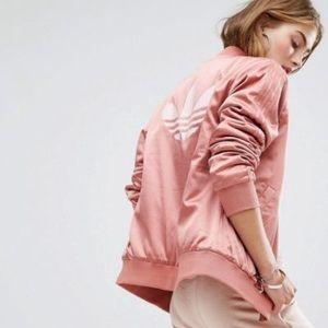 Adidas Originals Pink Satin Trefoil Bomber Jacket